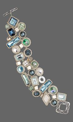 Bracelet with SWAROVSKI ELEMENTS, Seed Beads and Silver-Plated Brass Beads