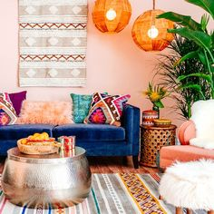 bohemian interior decorating n life a home design decor a nontraditional living a elements of bohemian home decorating Colourful Living Room, Boho Living Room, Living Area, Small Living, Boho Room, Living Spaces, Modern Living, Bright Living Room Decor, Colorful Couch