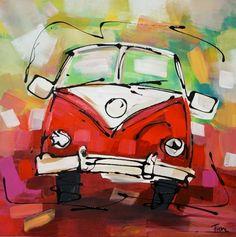 Volkswagen busje schilderij in vrolijk rood van de kunstenaars van Fiore.