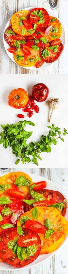 Heirloom Tomato Salad with Basil Mint Vinaigrette - this fresh tomato salad features beautiful heirloom tomatoes at their peak ripeness and a vibrant fresh basil mint dressing ~ http://jeanetteshealthyliving.com