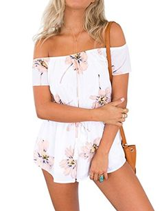 867348cd7f9 Women Jumpsuits Romper Vesgantti Off Shoulder Floral Print Women Playsuits  Ladies Short Jumpsuit Playsuits and Rompers for Women