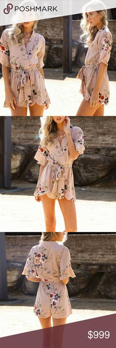 •Coming Soon• NEW SUMMER ARRIVALS!!! Floral Romper in Biege Sizes S to XL  **Please LIKE This Post To Be Notified Upon Arrival and Purchase at PRE SALE PRICE 30** MK Boutique Dresses