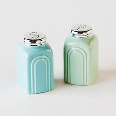Retro Salt and Pepper Stoneware Shakers