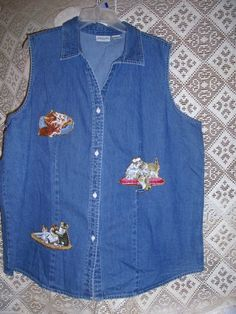 Hey, I found this really awesome Etsy listing at https://www.etsy.com/listing/22769396/ooak-kitty-cats-kittens-denim-shirt-top