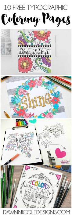FREE Typographic Coloring Pages.and they're all FREE! Which one will you sit down with a cup of coffee, relax, and color first? Printable Adult Coloring Pages, Coloring Pages For Kids, Coloring Books, Kids Coloring, Coloring Sheets, Stress, Book Design, Hand Lettering, Printables