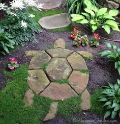 Garden Whimsy, Garden Yard Ideas, Outdoor Gardens, Garden Walkway, Rock Garden, Cottage Garden, Garden Stones, Backyard Landscaping, Backyard