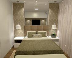 Quarto de casal | Ambientes pequenos | Papel de parede | Espelho | Iluminação