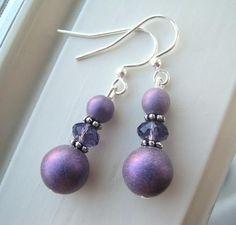 Purple Bridesmaid Earrings  Shimmer Jewelry  Czech Glass