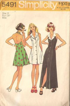 Vintage 70's Women's Halter Dress Pattern Simplicity 5491