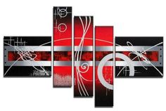 Hand Painted Artwork Red Abstract Art 5 Piece Wall Art Large Oil Painting Modern Art Canvas Art Gallery Wrapped Stretched and Ready to Hang Canvas Wall Art, Hand Painting Art, Red Abstract Art, Modern Canvas Art, Hand Painted Artwork, Modern Art For Sale, Abstract, Canvas Painting, Canvas Paintings For Sale