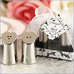 """Seasoned with Love"" Heart-shaped Salt and Pepper Shakers Wedding Favors"