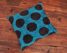 ikat fabric throw pillow ikat cushion suzani decor by DecorUZ Velvet Upholstery Fabric, Ikat Fabric, Velvet Cushions, Handmade Pillows, Decorative Pillows, Printed Silk Fabric, Ikat Pillows, Blue Velvet, Polka Dot