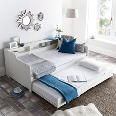 An ideal addition to minimalistic styled, contemporary guest rooms, the Tyler White Wooden Day Bed with Guest Bed Trundle offers comfortable and sturdy sleeping areas for two sleepers, as well as a charming amount of storage space for possessions, such Murphy-bett Ikea, Pull Out Bed, Daybed With Trundle, Murphy Bed Plans, Spare Room, My New Room, Storage Spaces, Bedroom Decor, Kids Bedroom