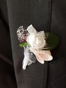 £8.99 buy it now. more than 12 available This special buttonhole design is unique with basket weave heart, mini white rose and black and dark red berry and white ribbon heart, this all to make it very spring and Easter feel to it. 2018 collection by Gianna Creations.