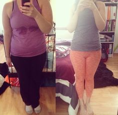 """F/22/5'6"""" [195 lbs > 150 lbs = 45 lbs] (14 months) These pictures side by side are my motivation to lose the last 20 lbs! Found at http://ift.tt/1LvYdOb - read more weight loss tips at http://ift.tt/1OVM97D"""