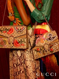 Embroidered and embellished with handmade patches, the new Gucci Dionysus shoulder bag from the Spring Summer 2016 collection, by Alessandro Michele.