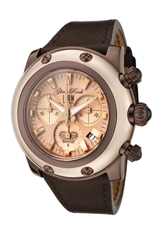 Glam Rock Women's Miami Chronograph Rose Gold Dial Dark Brown Genuine Leather Women's Watch GK1119 $538