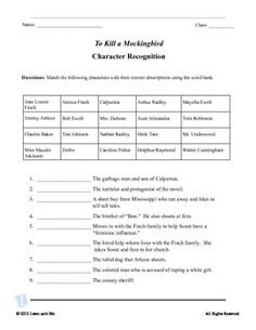 Printables To Kill A Mockingbird Worksheets to kill a mockingbird and scene on pinterest character recognition quote test
