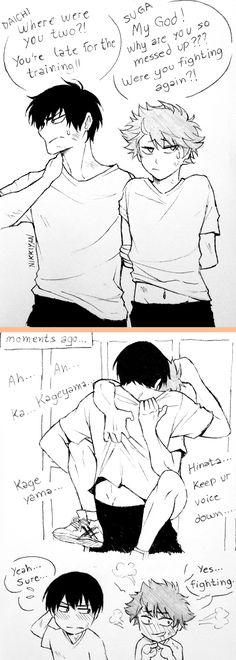 yeah..Kageyama and Hinata fight a lot ( ͡° ͜ʖ ͡°) Kagehina