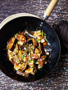 A quick, vegetarian aubergine and tofu stir-fry recipe using classic Chinese flavours.