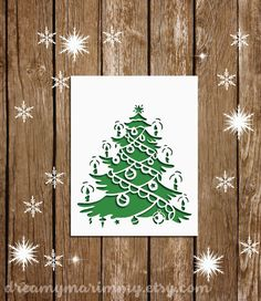 Christmas Papercut Template, DIY Christmas Card Template, Christmas Tree Template, PDF and SVG Cutting Files, Commercial Use