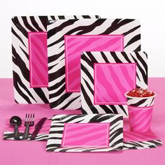 black pink zebra tableware