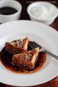 Pan Fried Tofu with a Spicy Soy-Sesame-Ginger Sauce