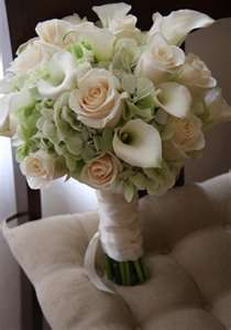 Green Hydrangea, Rose and Calla Lily Bridal Bouquet.  Flowers of Charlotte Loves this!