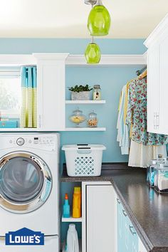 Set up an organization-packed laundry room with these storage and design ideas. Modern Laundry Rooms, Farmhouse Laundry Room, Laundry Room Design, Interior Design Living Room, Living Room Designs, Living Room Decor, Laundry Closet, Basement Laundry, Paint Colors For Living Room