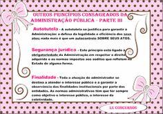 Lu Concursos: OUTROS PRINCÍPIOS CONSAGRADOS DA ADMINISTRAÇÃO PÚB... Portuguese Grammar, Bullet Journal, Study, Education, Tips, Cards, Law, Middle School Activities, Tall Tales Activities