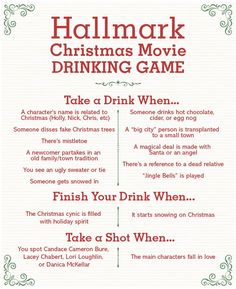 This Hallmark Christmas movie drinking game will definitely be the hit of your holiday movie marathons! Whip up some eggnog and enjoy the fun of watching Hallmark Christmas movies with this drinking game. Christmas Drinking Games, Christmas Party Games For Adults, Movie Drinking Games, Christmas Drinks Alcohol, Christmas Movies List, Christmas Movie Night, Adult Party Games, Hallmark Christmas Movies, Christmas Characters