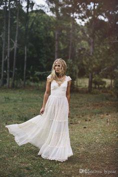 Vintage Bohemian Wedding Dress With Cap Sleeves Off The Shoulder A Line Wedding Dresses Princess Line Wedding Dress From Bigear, $150.76| Dhgate.Com