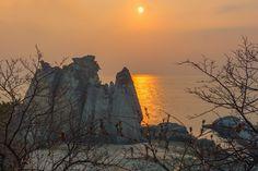 sunset and gigantic rocks at Hotoke-ga-ura beach in Aomori Prefecture, Tohoku.…