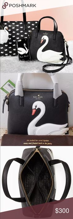 """NOVELTY Kate Spade Swan Maise Leather Crossbody BRAND NEW with Tags  Kate Spade Dust bag + Gift Bag  100% Authentic!  RARE Kate Spade On Pointe Swan Small Maise Satchel Crossbody Messenger Purse NWT   Maise is decorated with an applique swan, for a look that's as unique as it is chic.   ⋅Saffiano LEATHER matching trim ⋅Kate Spade brown dust bag included! ⋅Double handles, detachable adjustable shoulder strap ⋅Zip closure. Zip & slide pockets ⋅14KT Gold Plated Logo hardware ⋅7.4"""" h x 9"""" w x…"""