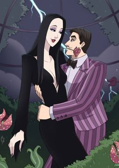 Morticia and Gomez by artilustra on DeviantArt Addams Family Members, Addams Family Tv Show, Morticia And Gomez Addams, Manga Anime, Anime Art, Frankenstein Art, Charles Addams, Dark Love, Anime Kawaii