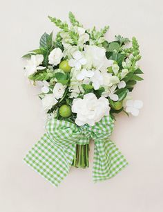 """""""Mint Julep"""" bouquet with gardenias, fresh mint, key limes, lace cap hydrangea, lisanthus, snap dragons, and mini rose blossoms 