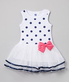 Another great find on #zulily! White & Blue Polka Dot Tiered Dress - Toddler #zulilyfinds
