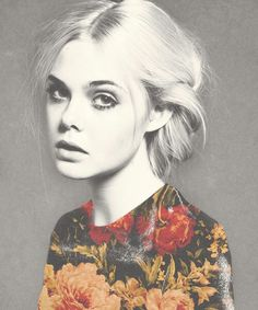 A mixed high-key black-and-white and color portrait of Elle Fanning Elle Fanning, Dakota Fanning, Pretty People, Beautiful People, Portrait Photography, Fashion Photography, Floral Photography, Photocollage, Portraits