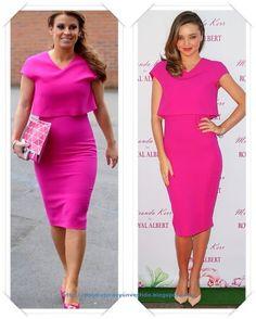 Un vestido color magenta de Victoria Beckham lo llevo Coleen Rooney; después se lo vimos a Miranda Kerr en un evento en Sidney.