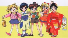 Sailor Senshi as adorable little kids - Sailor Moon SuperS movie Arte Sailor Moon, Sailor Moon Usagi, Sailor Jupiter, Sailor Venus, Sailor Mars, Sailor Moon Crystal, Chibi, Sailor Scouts, Sailor Saturno