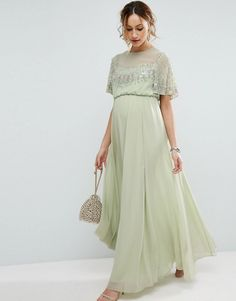 ASOS Maternity | ASOS Maternity Pretty Embellished Flutter Sleeve Maxi Dress