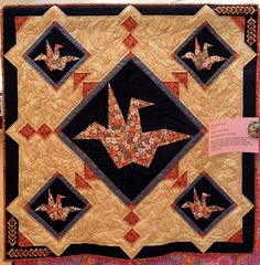 Five Origami Cranes by Carol Smith at the 2012 River City Quilters' Guild show. Photo by Quilt Inspiration