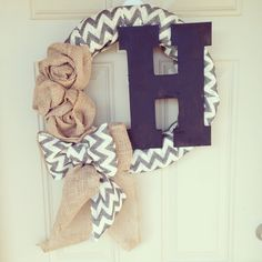 Chevron burlap & fall rosette wreaths with initial @Samantha @This Home Sweet Home Blog @AbdulAziz Bukhamseen Home Sweet Home Blog Halaseh @Julie Forrest Forrest McCloskey ... Possible craft for tomo!?