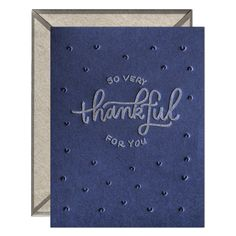 Letterpress-printed greeting card with signature INK MEETS PAPER® recycled kraft envelope. Available as a single card or boxed set of six. Gel Ink Pens, Letterpress Printing, Kraft Envelopes, Your Cards, Thank You Cards, How To Draw Hands, Recycling, Greeting Cards, Thankful