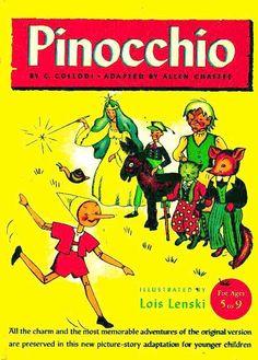 "book cover - 1946 1st Ed ""Pinocchio"" Lois Lenski Illustrations, Lithographs, Fairy Tale, C. Collodi"