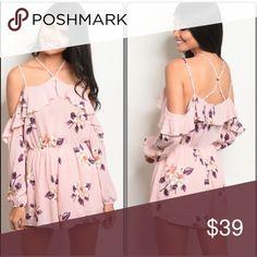30403c235bcc Soft Blush Pink Romper Floral Romper in Soft blush pink. ▫️Long Sleeve  Romper ▫️Off the Shoulder fit ▫️Criss Cross back detail ▫️100% Rayon SRP  001 ...
