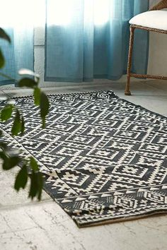 too much pattern but a black and white aztec print rug