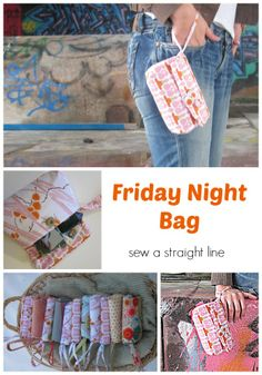 Friday Night Bag, a handled clutch to hold the essentials for a night out.  Full tutorial, with PDF pattern included.  Make one!
