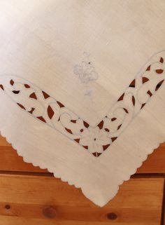 Linen Embroidered Tablecloth Beige Blue Flower Scalloped - Vintage. $12.00, via Etsy.