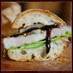 #sandwich of Pain Rustique #bread with #meat and some #vegetables, balcamico vinegar